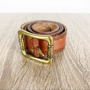 Fossil Brown Leather Floral Embossed Belt Brass S